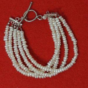 Jewelry - Vintage Seed Pearl Bracelet Sterling Clasp